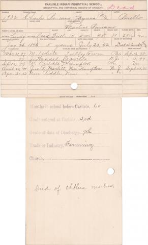 Charles Paisano Student Information Card