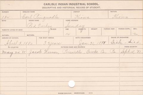 Carl Pinquodle (Red Turkey) Student Information Card