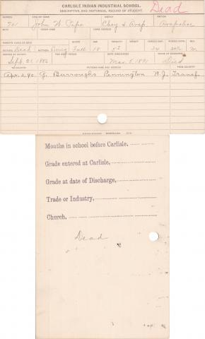 John W. Pipe Student Information Card