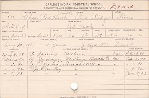 Charles Red Hawk Student Information Card