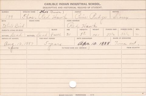 Thomas Red Hawk Student Information Card