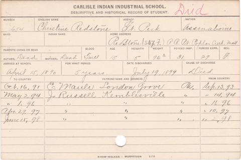 Christine Redstone Student Information Card