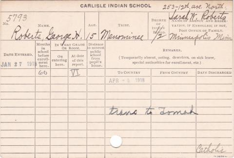 George H. Roberts Student Information Card
