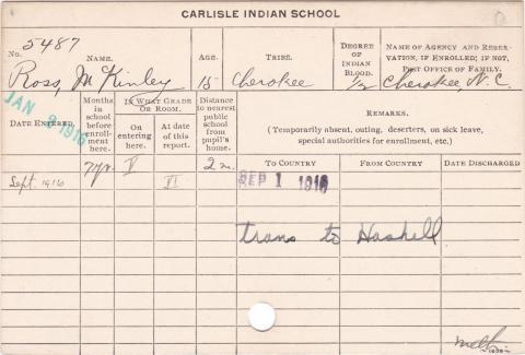 McKinley Ross Student Information Card