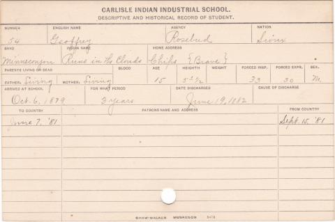 Geoffrey Chips (Runs in the Clouds) Student Information Card