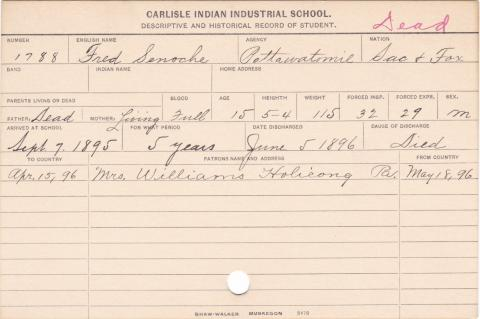Fred Senoche Student Information Card