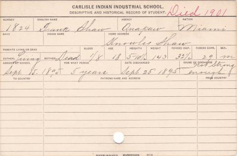 Frank Shaw Student Information Card