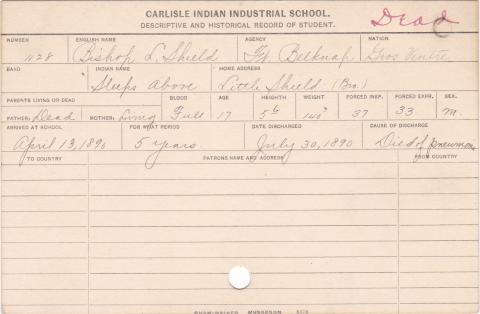 Bishop L. Shield (Sleeps Above) Student Information Card