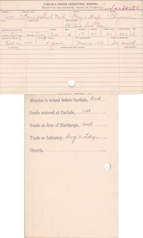 Fannie Short Neck Student Information Card