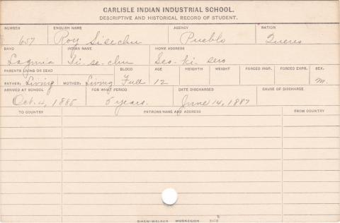 Roy Sice Student Information Card