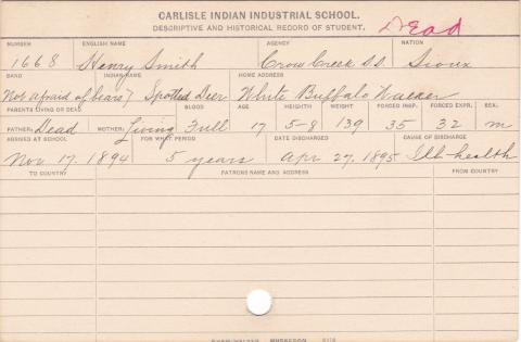 Henry Smith (Spotted Deer) Student Information Card