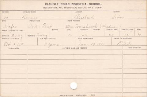 Dennis (Strikes First) Student Information Card