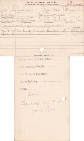 George Summers Student Information Card