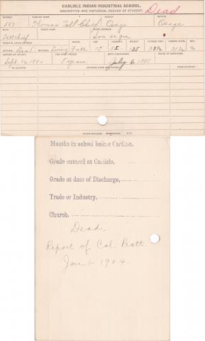 Thomas Tall Chief Student Information Card