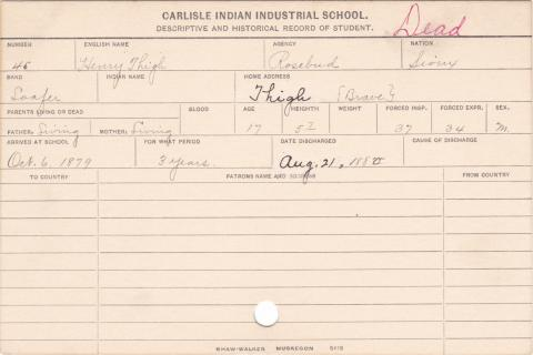 Henry Thigh Student Information Card