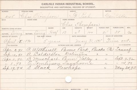 Charles Thompson Student Information Card