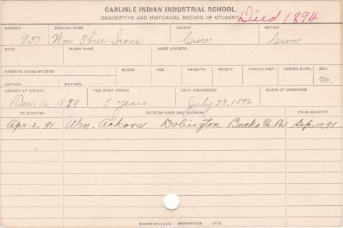 William Three Irons Student Information Card