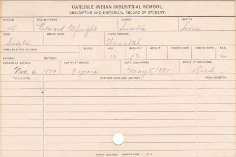 Edward Upright Student Information Card
