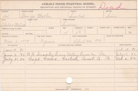 George Walker Student Information Card
