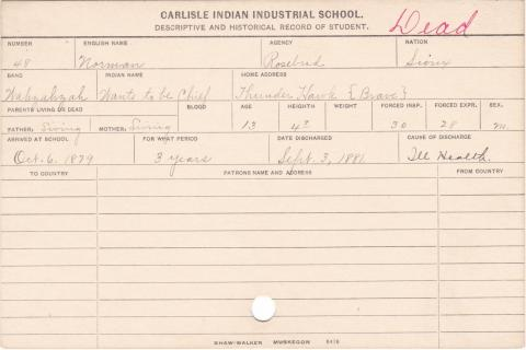 Norman (Wants to be Chief) Student Information Card