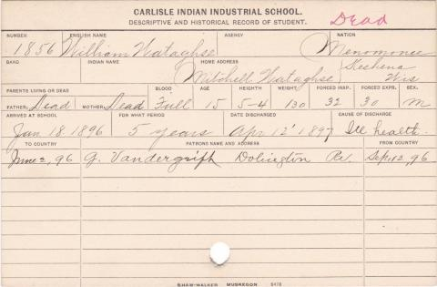 William Wataghse Student Information Card
