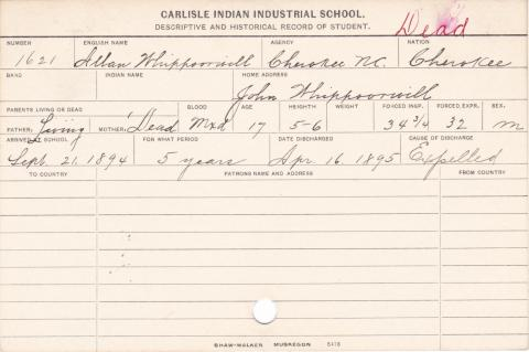 Allan Whippoorwill Student Information Card