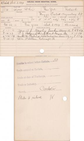 Agnes White Student Information Card