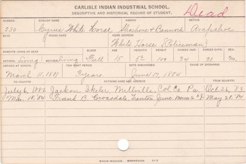 Cyrus White Horse Student Information Card