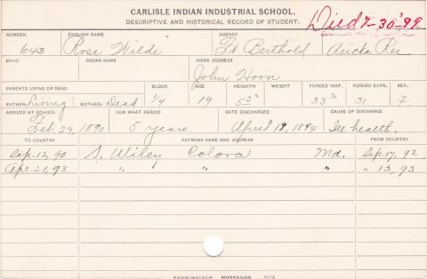 Rose Wilde Student Information Card
