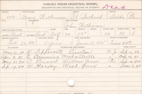 Mary Wilkinson Student Information Card
