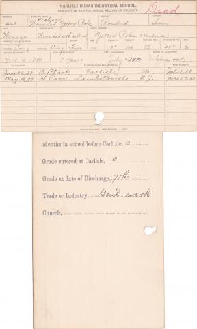 Wounded Yellow Robe Student Information Card