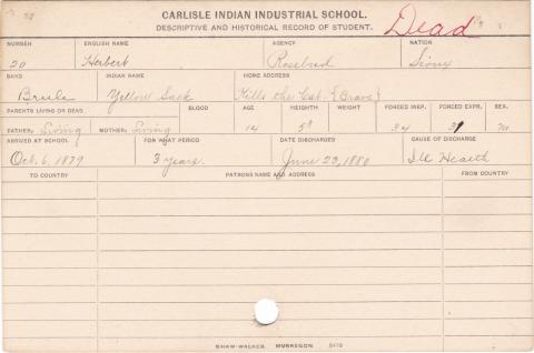 Herbert (Yellow Sack) Student Information Card