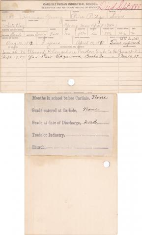 Herman Young Student Information Card
