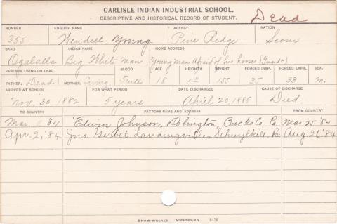 Wendell Young (Big White Man) Student Information Card