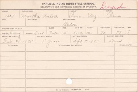 Martha Anton Student Information Card