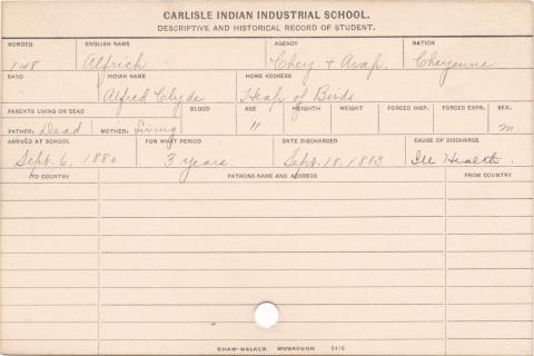 Alfrich Heap-of-Birds (Alfred Clyde) Student Information Card