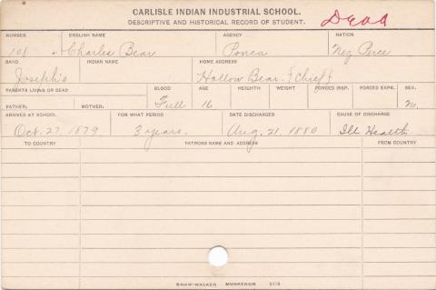 Charles Bear Student Information Card