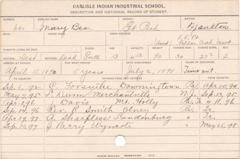 Mary Bear Student Information Card