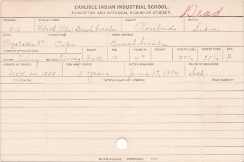 Edith Brushbreaker (Pipe) Student Information Card