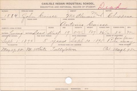 John Caisse Student Information Card