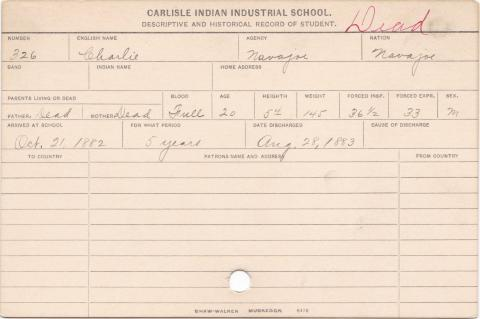 Charlie Student Information Card
