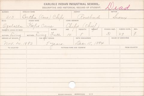 Bertha Chips (Keeps Cane) Student Information Card