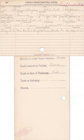 William Douglass (Namens) Student Information Card