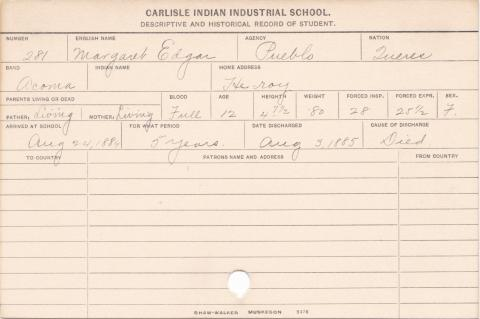 Margaret Edgar Student Information Card