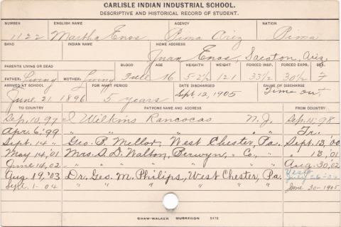 Martha Enos Student Information Card
