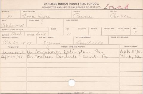 Cora Eyre Student Information Card