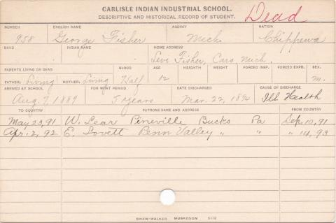 George Fisher Student Information Card