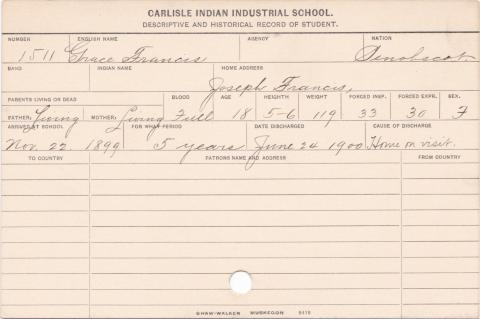 Grace Francis Student Information Card
