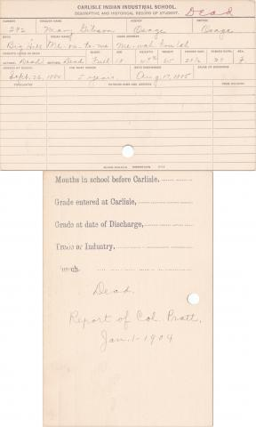 Mary Gibson (Me-ra-to-me) Student Information Card