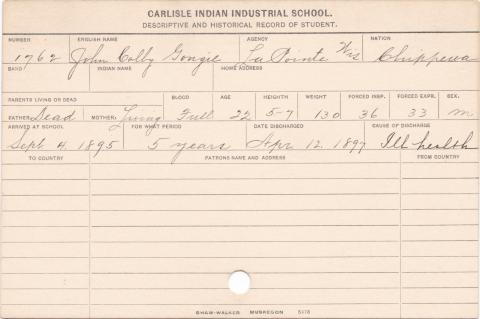 John Colby Gongie Student Information Card